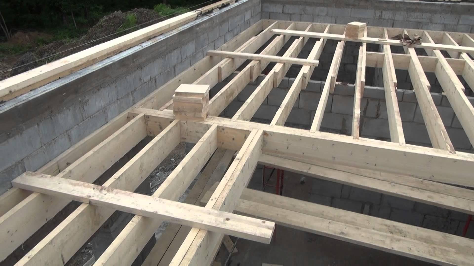 перекрытие по деревянным балкам в газобетонном доме